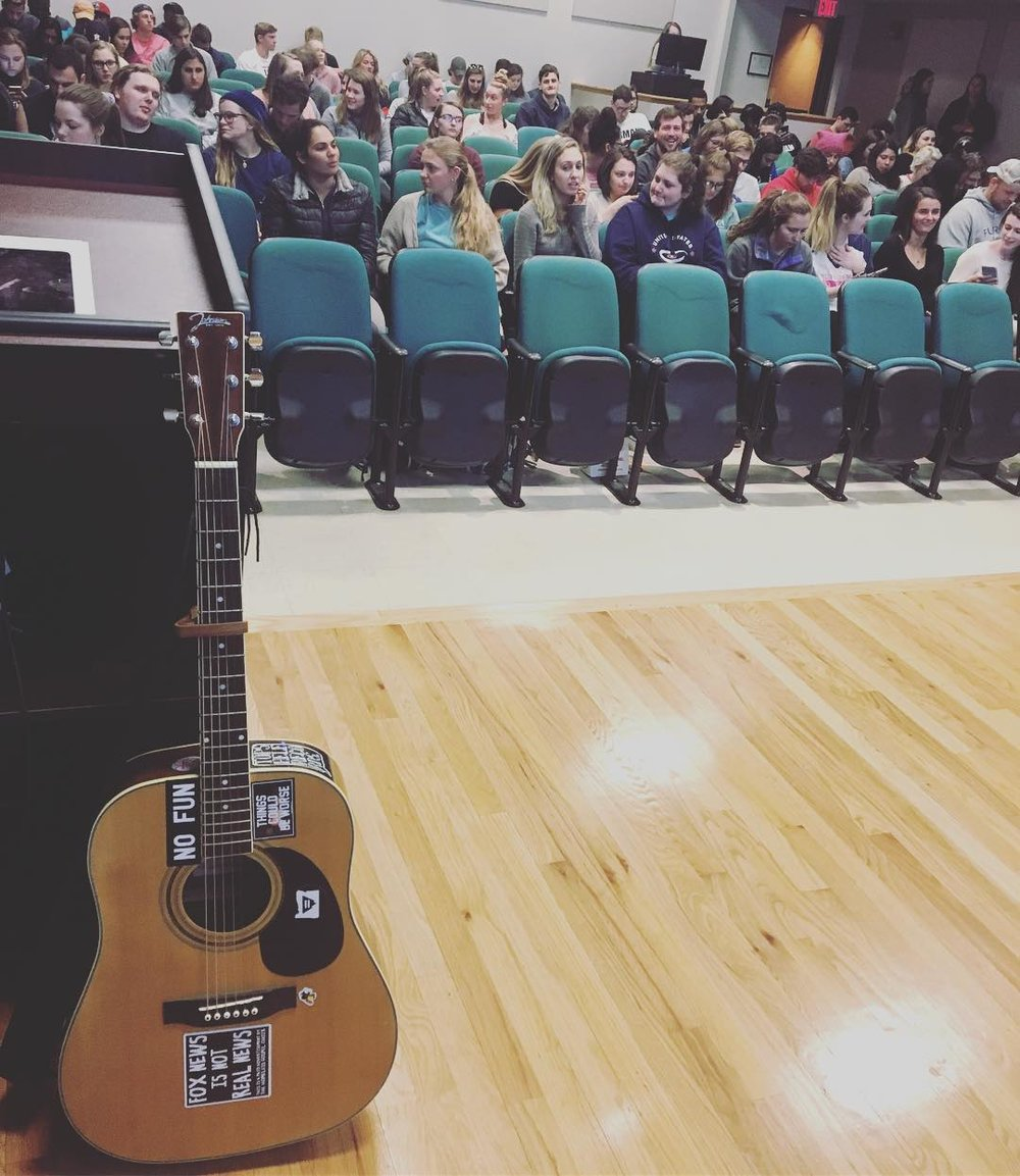 This auditorium at Furman University (in South Carolina) quickly filled up after I took this picture of my guitar - still one of the most fun and welcoming spaces I've ever shared.