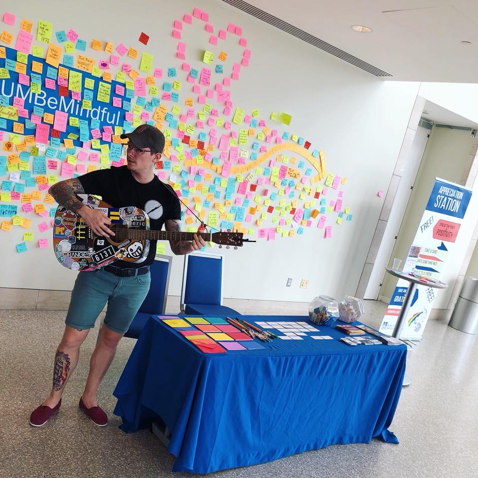 Me, in my natural environment, at work at UMass Boston - spreading love and music every day.