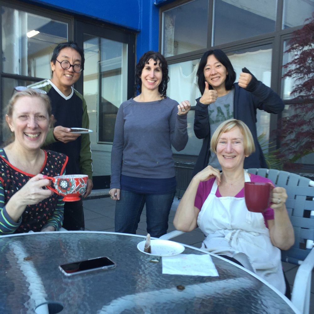 Studio Neighbors taking a tea break on our roof deck during the final day of Getting Ready.JPG