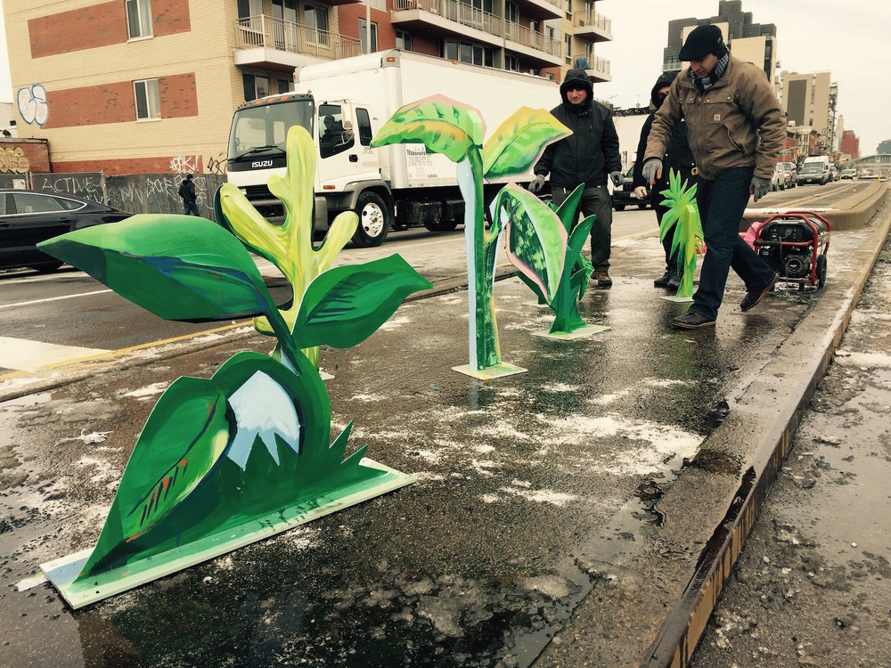 "Breaking the ice to install Ruth Hofheimer's ""Greenery"", sponsored by NYC Department of Transportation as one of their Community Commissions projects (2015)."