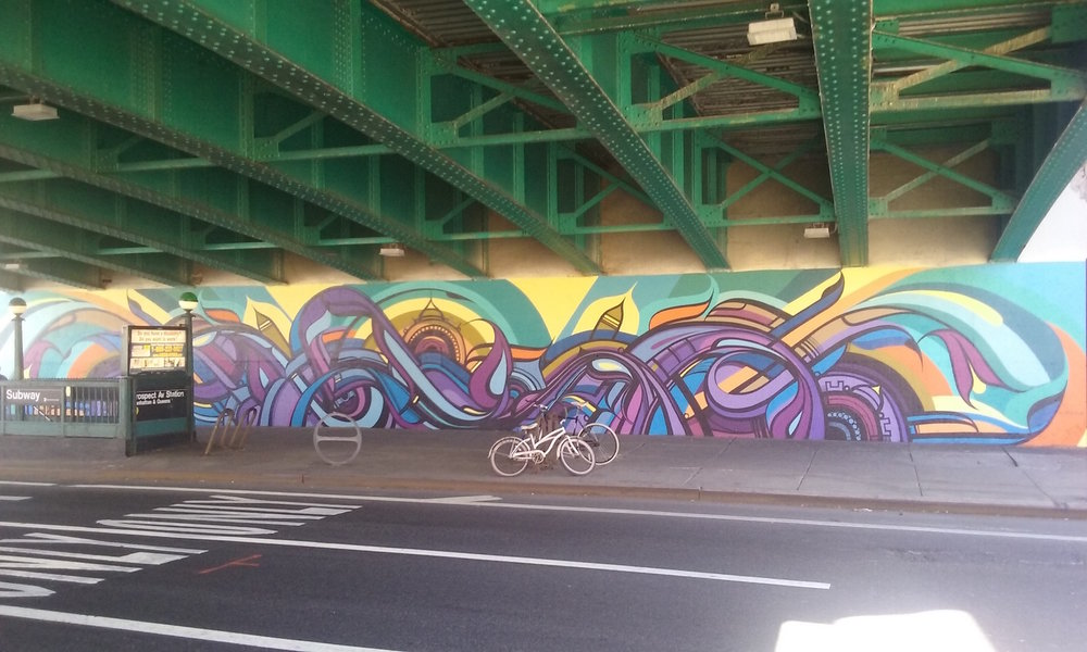 "The mural ""Intersections,"" by Artist Miguel Del Real, was funded by NYC Department of Transportation's Art Program (2015)."