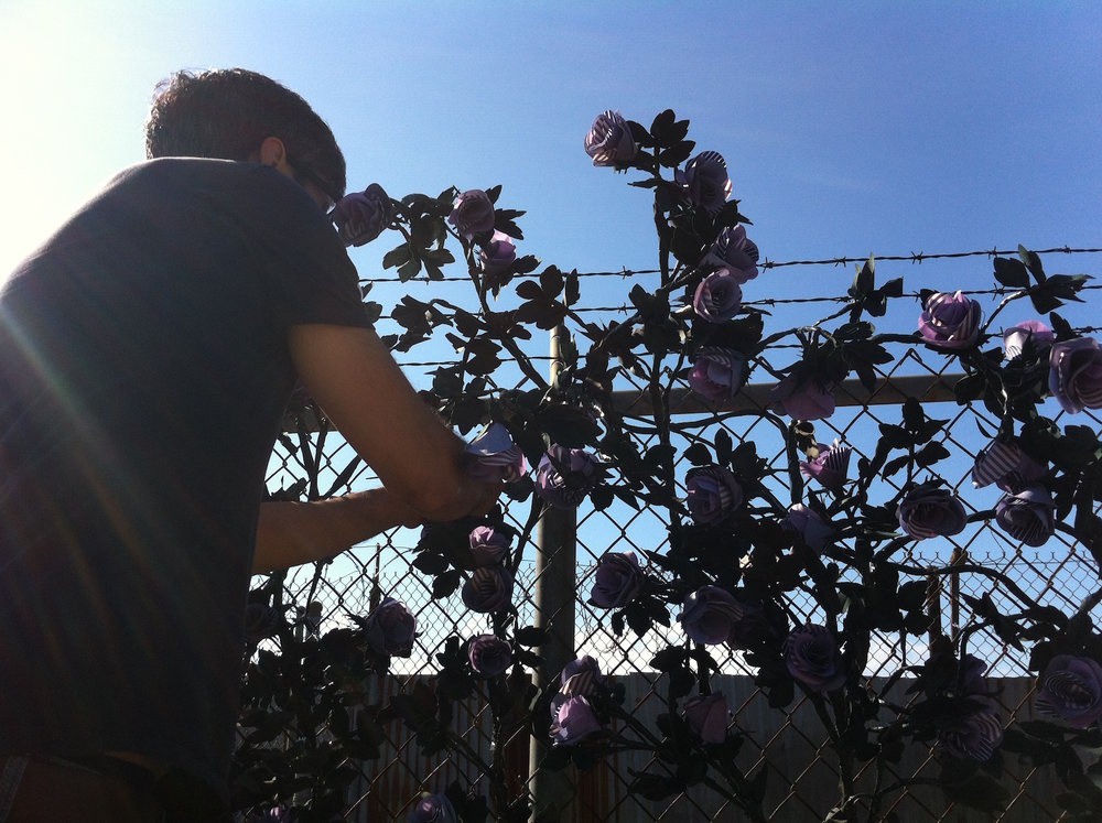 "Artist Carlton Scott Sturgill installs ""Bridge of Flowers"" (2014)."