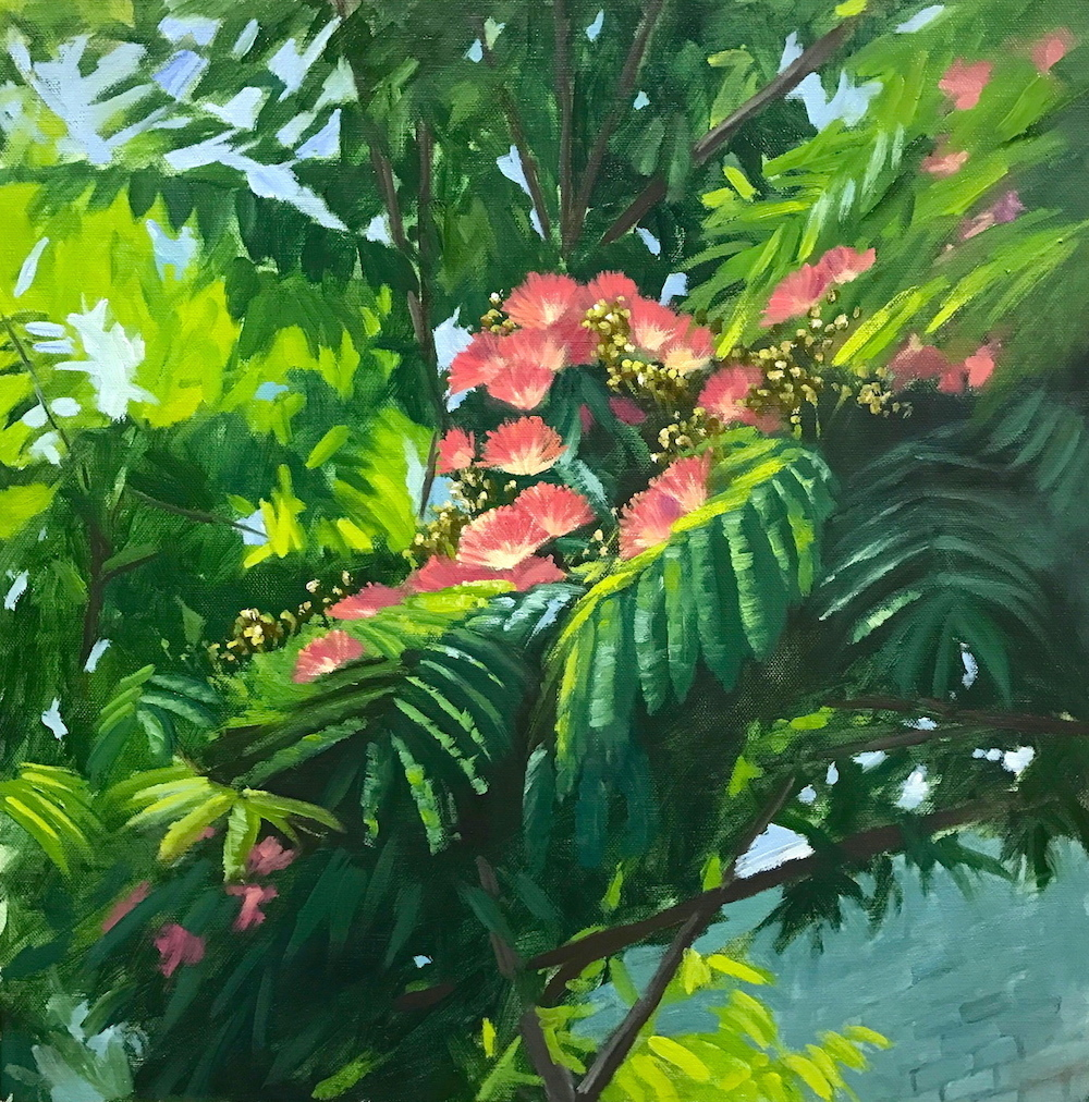 3. J.Dalrymple Non Native Vignette_ Albizia julibrissin (mimosa), 18″ x 18″, oil on canvas.jpg