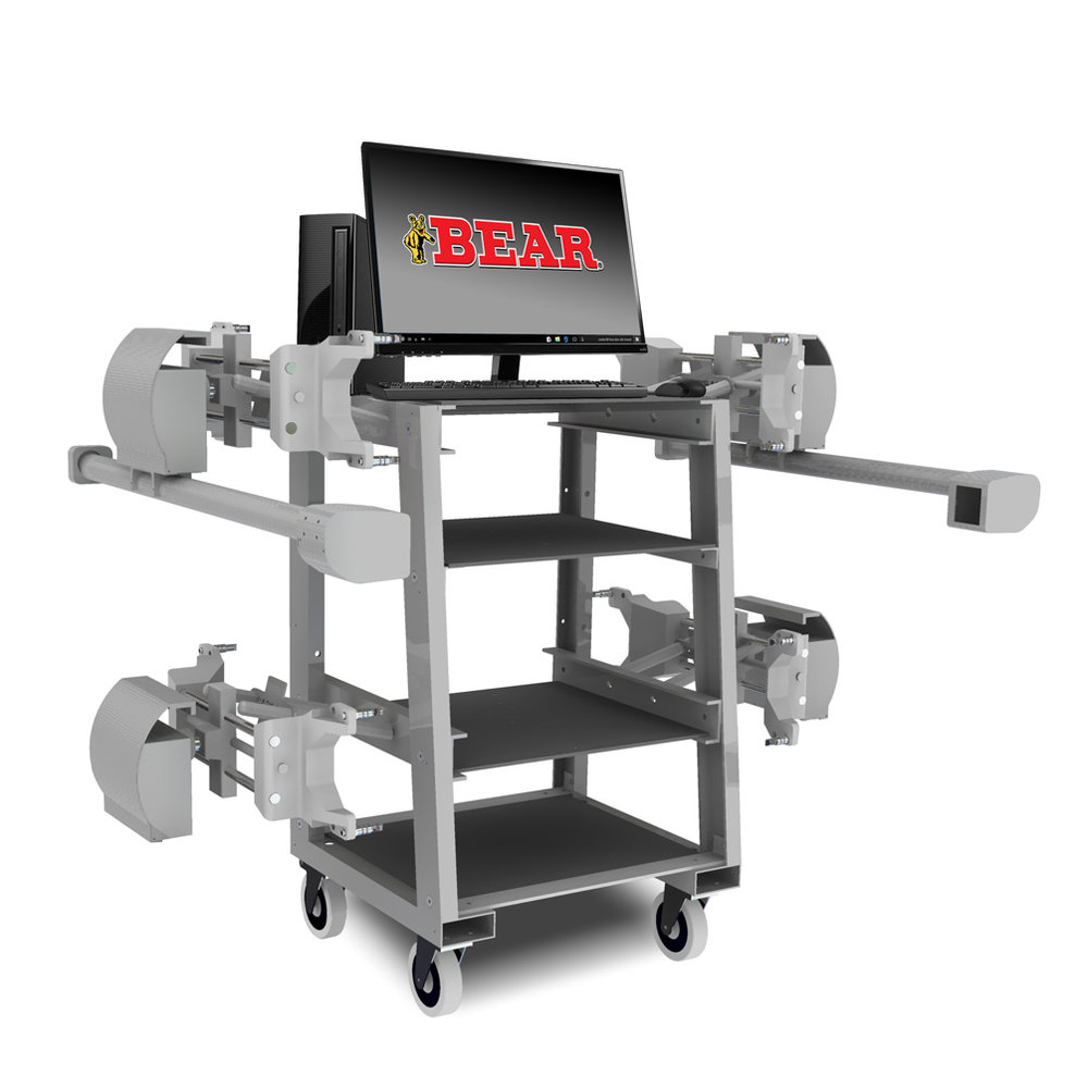 No computer? No problem. Upgrade from the modular system to the  60-7111-S.  Included in this aligner is a sturdy aluminum frame cart and a super-efficient econo Pc.     More info.