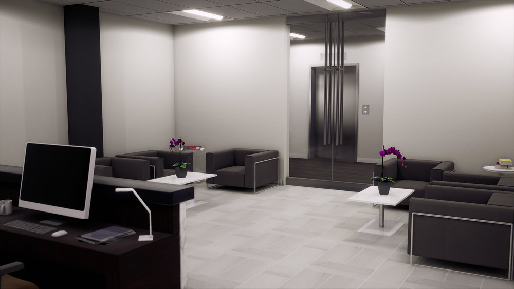 Lenox Park | Sample Design/VR Build - View Towards Elevator Lobby