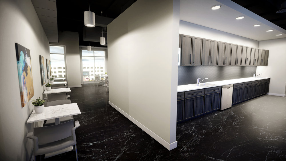 Lenox Park | Sample Design/VR Build - View into Break Room