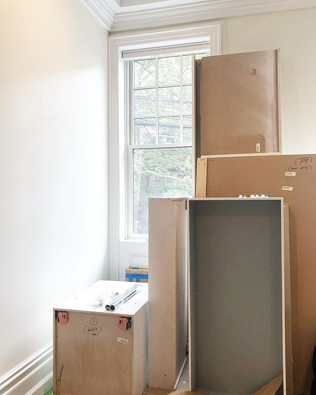 Install day for our custom entry #built-ins! Can't wait to see this all come together!