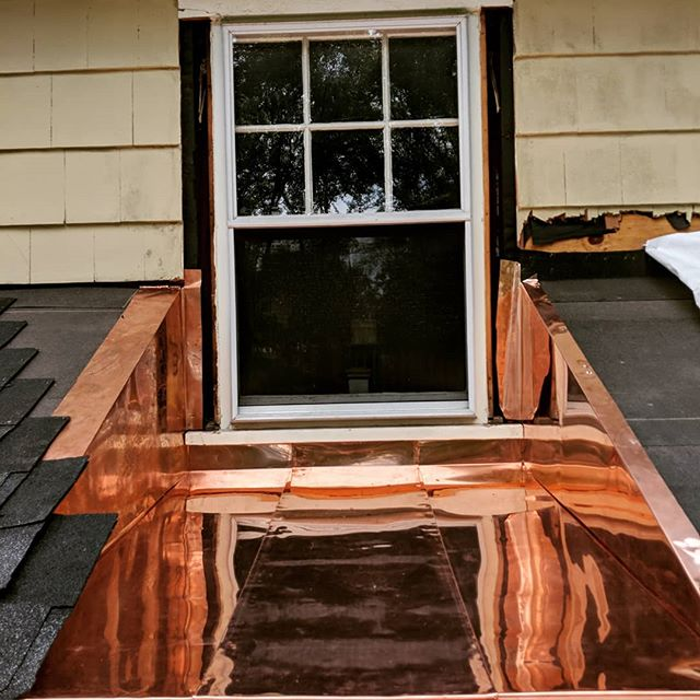 Copper work underway at our Montclair mud room project.  We framed the extension of the existing roof over the new mud room space with a window well.  Our clients wanted to maintain the  size of the existing window which is at the top of their stairwell landing.  Not only to they still have a full view of their backyard they also have this beautiful copper well to look into.  This beats a rubber membrane any day 👍. The window is going to be replaced with a new Marvin unit and more copper flashing will be installed as the roofing and waterproofing continues.  Just wanted to share this awesome but not yet complete detail before the weekend !