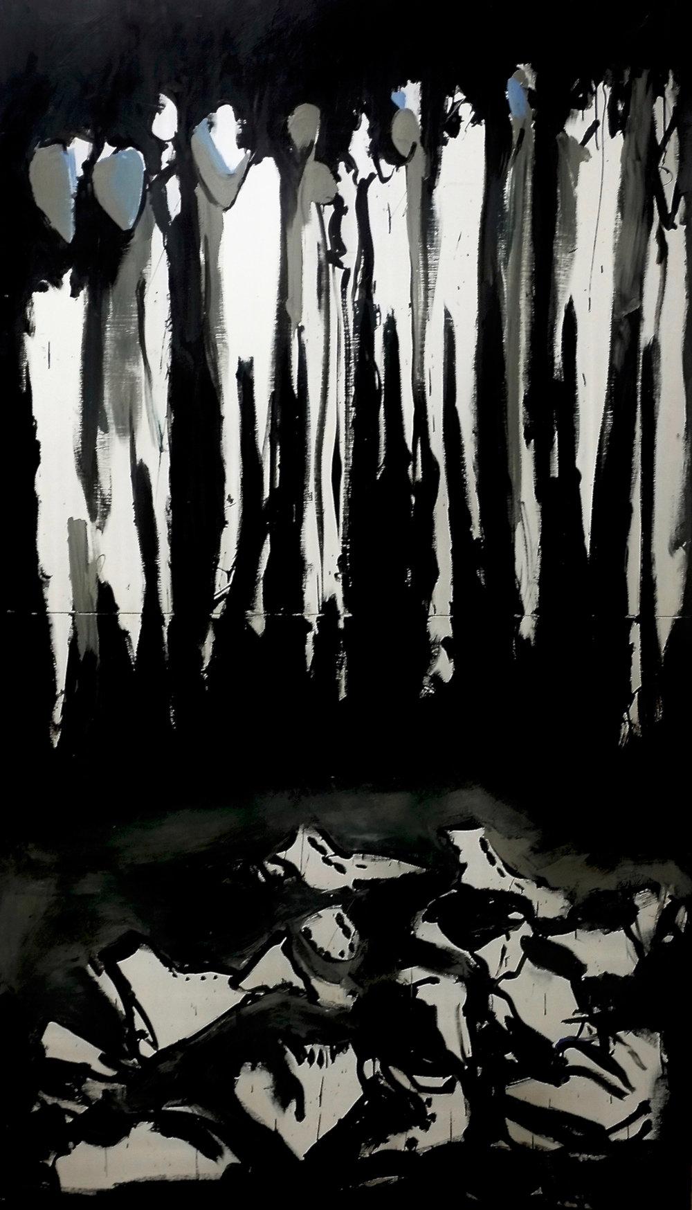 Goulag, 1991. Acrylique sur panneau de bois, 244 x 140 cm.
