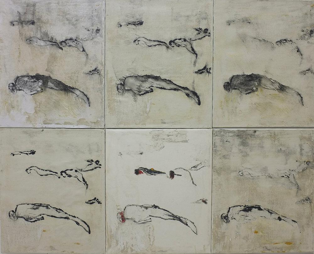Naufragés, 2008. Technique mixte sur papier, marouflé sur toile, 120 x 150 cm. (6 de 60 x 50 cm.)
