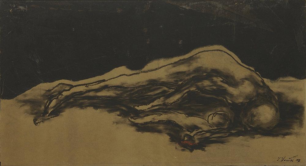 Affliction, 2004 - 2005. Technique mixte sur papier goudron, marouflé sur panneau de bois, 53 x 100 cm.