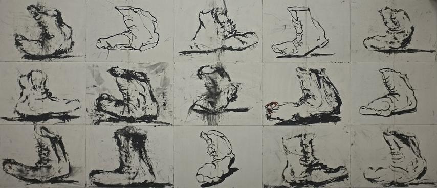 De la série -L'homme en marche-, 2014. Technique mixte sur papier, marouflé sur panneaux de bois, 210 x 490 cm. (15 tableaux de 70 x 98 cm.