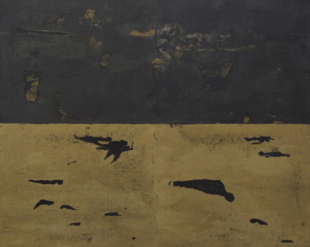 Migrants, 2015. Huile sur papier goudron, marouflé sur panneau de bois, 96 x 120 cm.