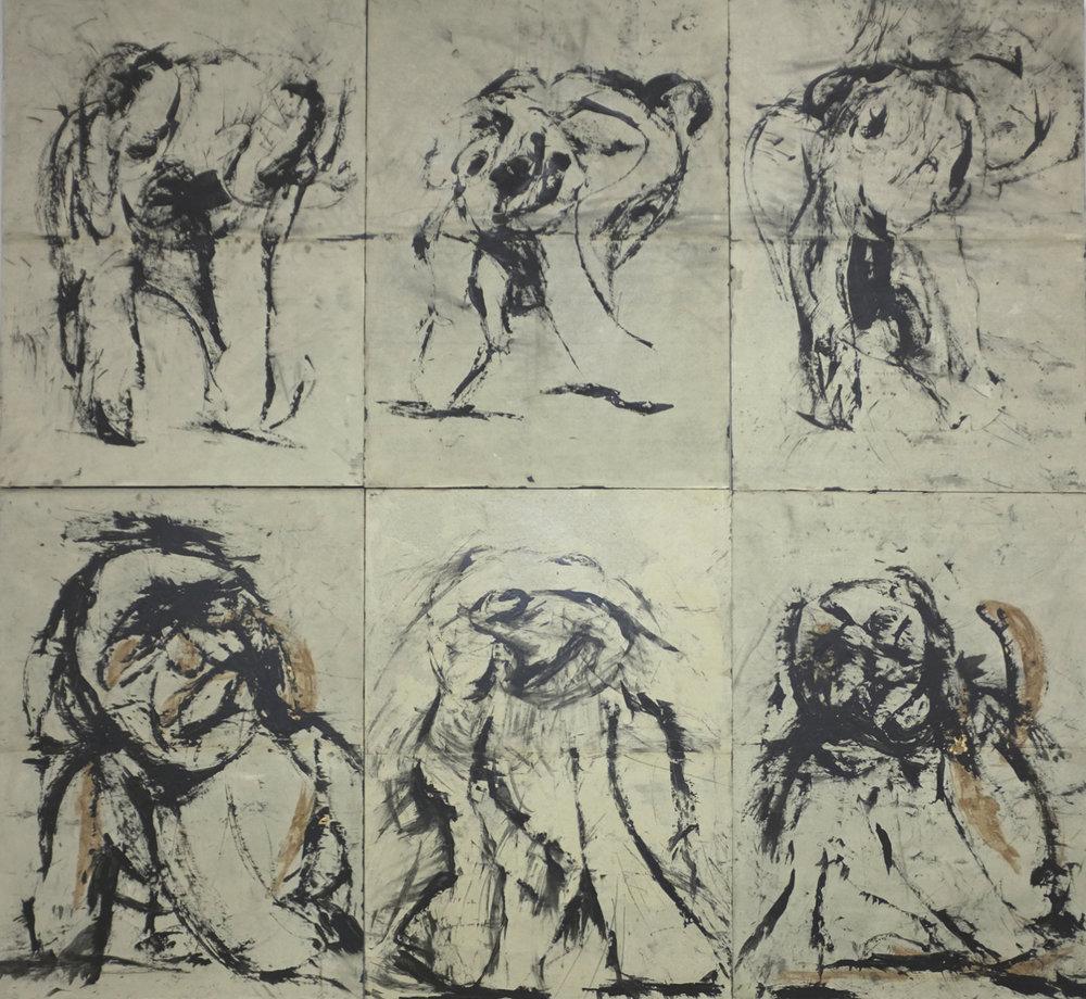 De la série « métamorphoses », 2014. Technique mixte sur papier, marouflé sur panneaux de bois, 196 x 210 cm. (6 tableaux de 98 x 70 cm.)