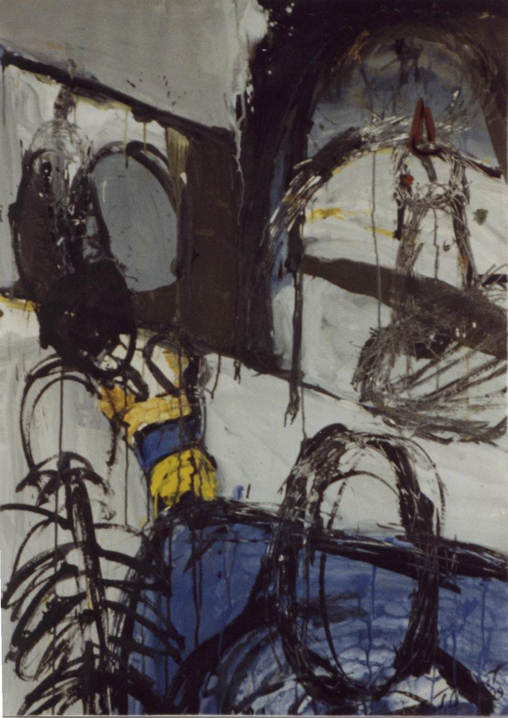 Nid d'oiseaux, 1999. Huile sur papier, 100 x 72 cm.