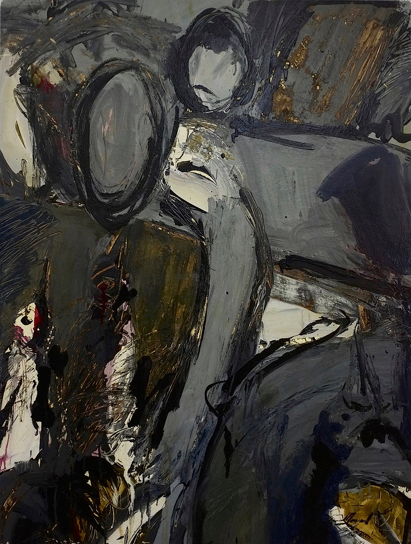 Les oiseaux, 1999. Huile sur papier marouflé sur panneau de bois, 91 x 68 cm.