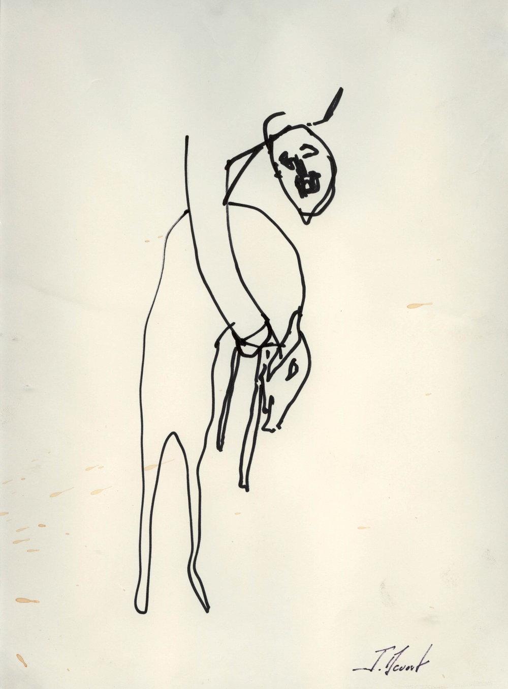 Esquisse « A la recherche de César » 1998. Technique mixte, 28 x 20 cm.