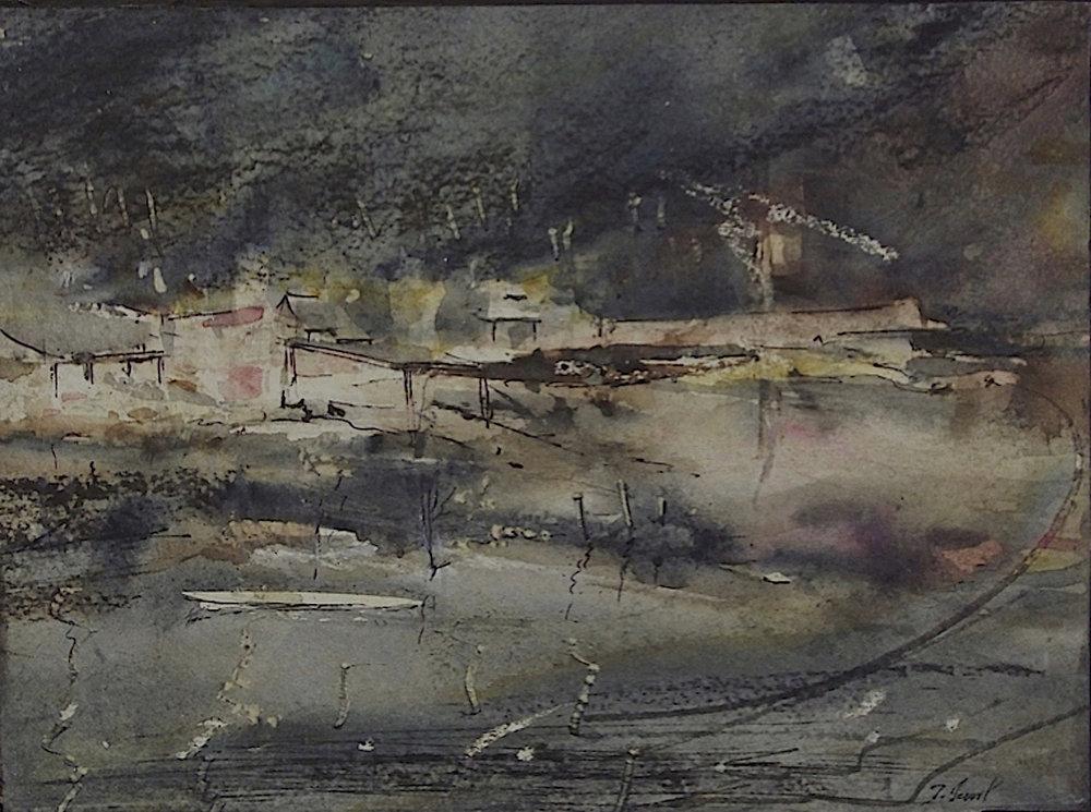Paysage de Bretagne I, 2007. Technique mixte, marouflé sur panneau de bois, 24 x 32 cm.