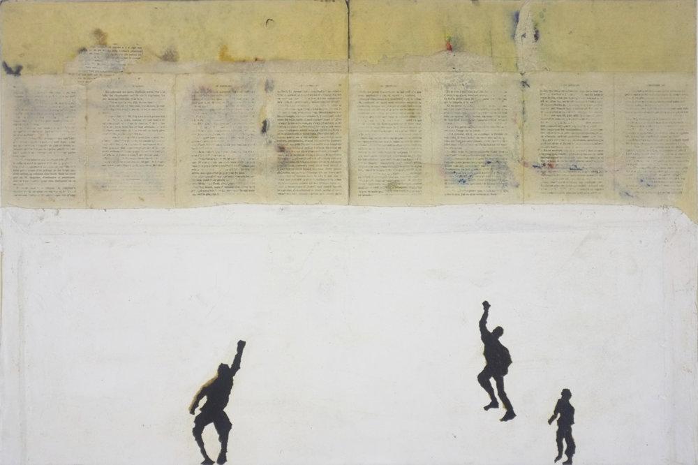 Murs et écritures 2017 - Technique mixte sur papier, marouflé sur panneaux de bois - 60 x 90 cm