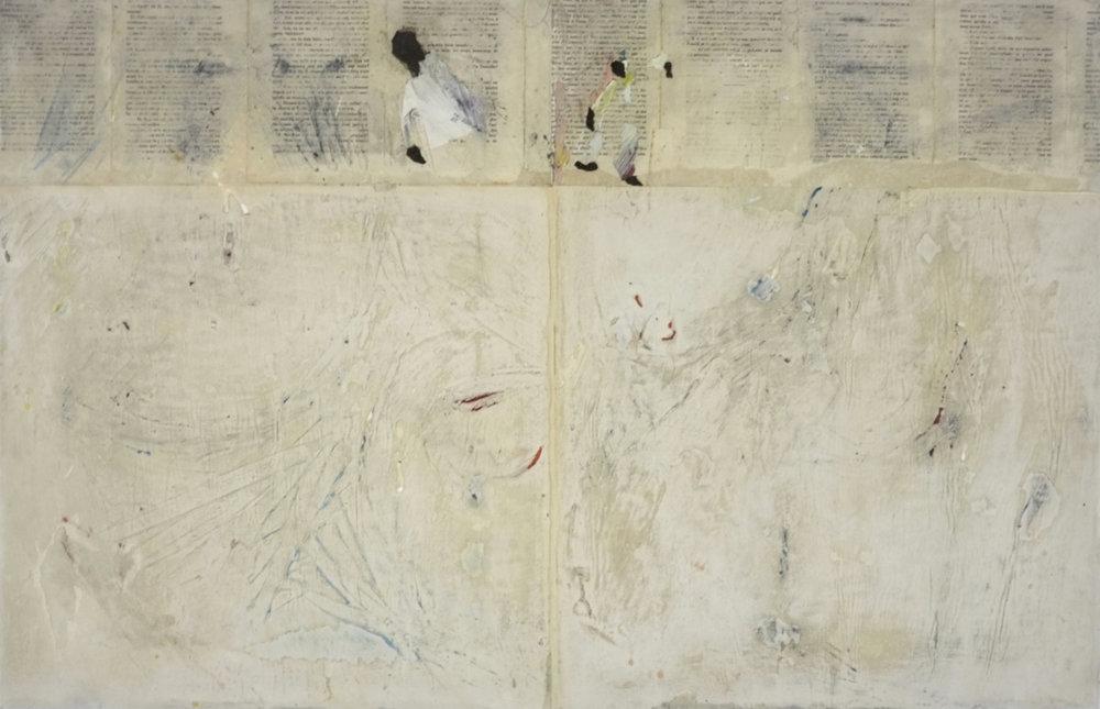 Murs et écritures - 2017- Le dernier clown d'Alep-2017 - Technique mixte sur papier, marouflé sur panneau de bois - 62 x 96 cm