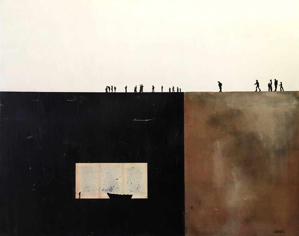 DEVOST-Au coeur de l'exil _Murs et écritures_ Acrylique et papier goudron, marouflé sur toile, 120 x 150 cm.jpg