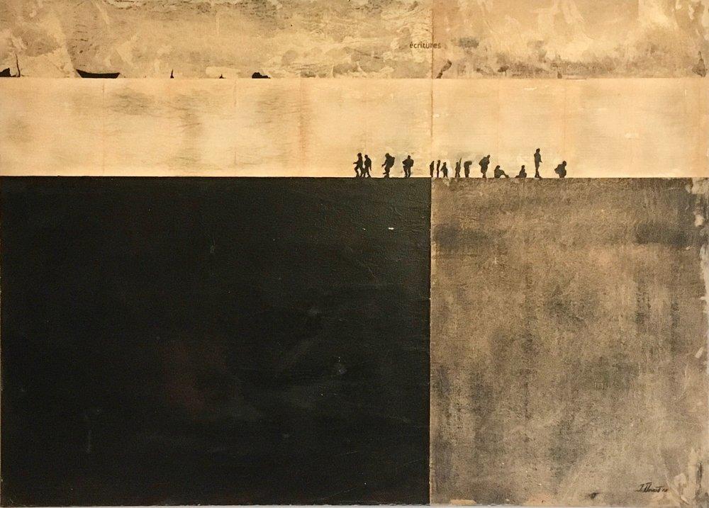 Au coeur de l'exil _Murs et écritures - 2018 - Acrylique et papier goudron, marouflé sur toile - 93 x 130 cm