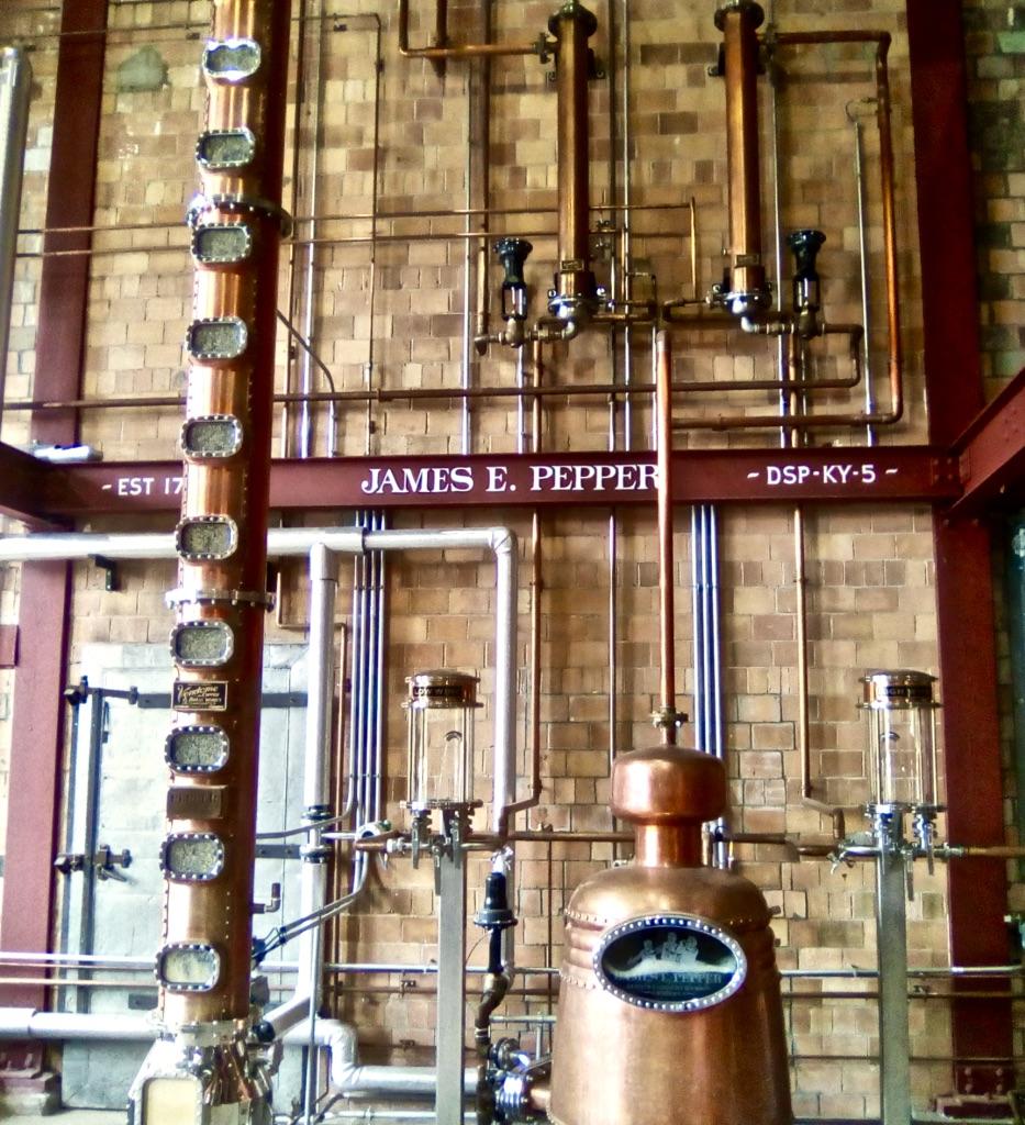 Copper Column Still — James E. Pepper Distillery. Photo Credit: Mike Mayer, August 2018