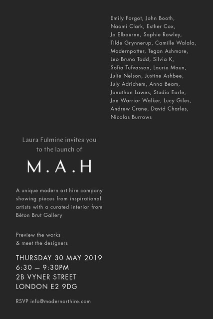 I'm thrilled to be joining Laura Fulmine on her new venture   M.A.H   alongside a whole bunch of incredible talent.  Join us on May 30th for the launch party.