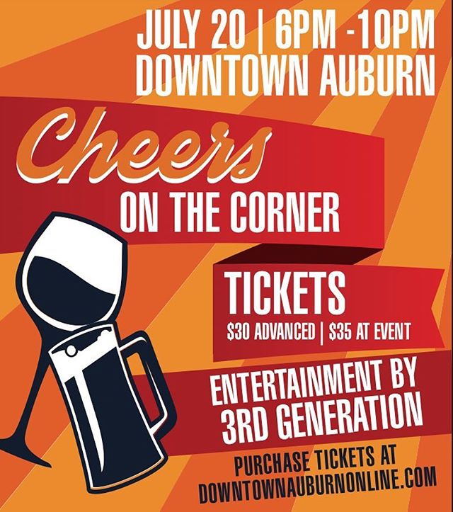 ✨GIVEAWAY✨ We are giving away TWO tickets to Cheers on the Corner!🍻🍷 To win: 1. Like this photo ☝🏽 2. Tag two friends in the comments 👫 3. Follow @downtownauburn Winner will be announced on Wednesday, July 11th. Good luck! #giveaway #cheersonthecorner #foodandwine #downtownauburn
