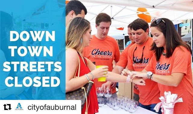 Please be aware of the parking and street closures for tonight's event! On-street parking along portions of College and Magnolia are unavailable after 2 pm today. Vehicles will be towed at owner's expense! Sorry for the inconvenience and thank you for your support of downtown!  #Repost @cityofauburnal ・・・ Cheers on the Corner is July 20, and that means downtown road closures! 🚧  Beginning at 4 p.m., College Street will be closed from Thach Avenue to Glenn Avenue, and Magnolia Avenue will be closed from Gay Street to Wright Street. On-street parking will be unavailable after 2 p.m. Streets will reopen by 11 p.m.  Valet parking will be available during regular hours from 5-10 p.m., and Grab-A-Cart will be operating throughout the evening. Parking will be available at the Gay Street Parking Lot, the East Glenn Avenue Municipal Parking Lot, Felton Little Park and Frank Brown Recreation Center.
