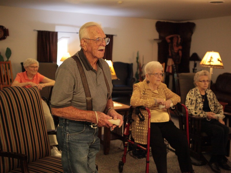 Residents Playing Wii in the Western Room at Somerset Court - Rapid City