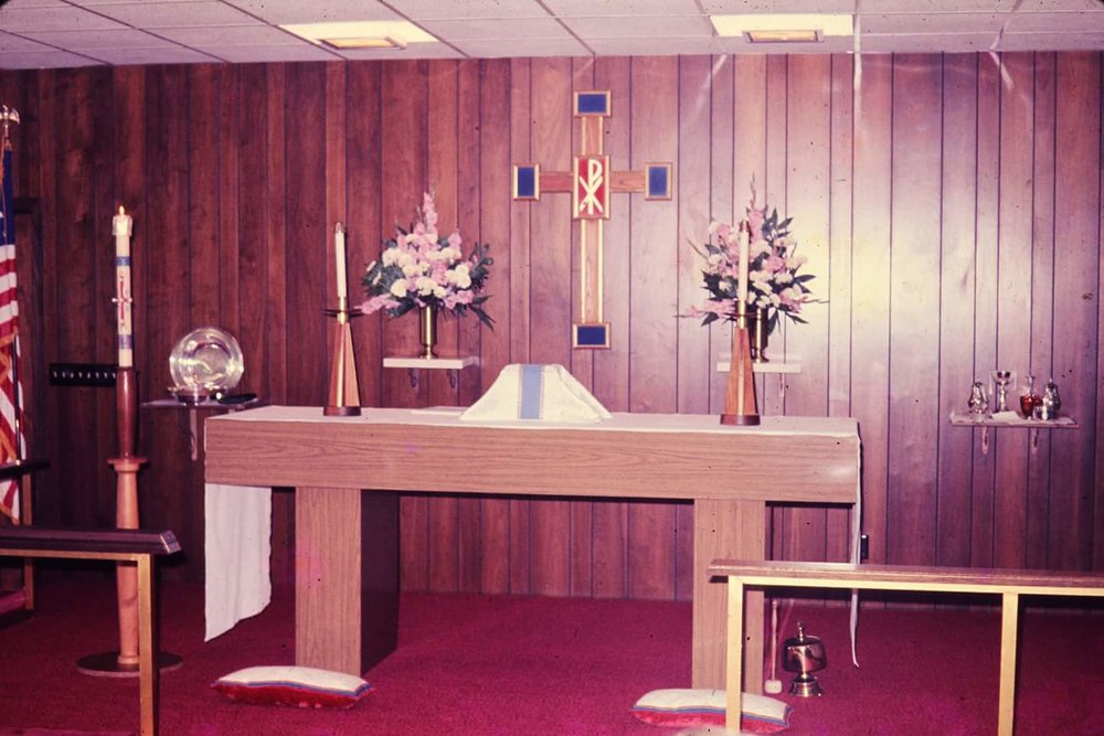 This is the altar in the old church building.  The new church building was built in 1989. This former church building is now the offices and Sunday school building.