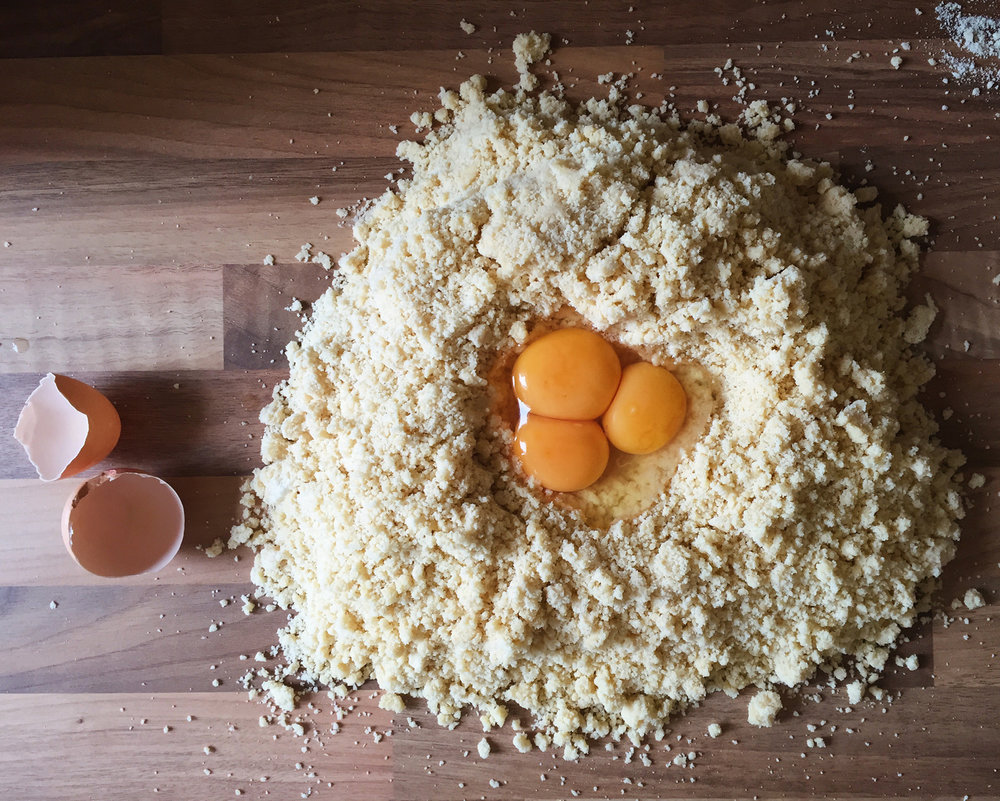 eggs and flour on worktop