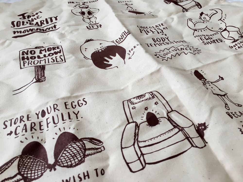 The Solid Egg Screen Printed Tea Towel