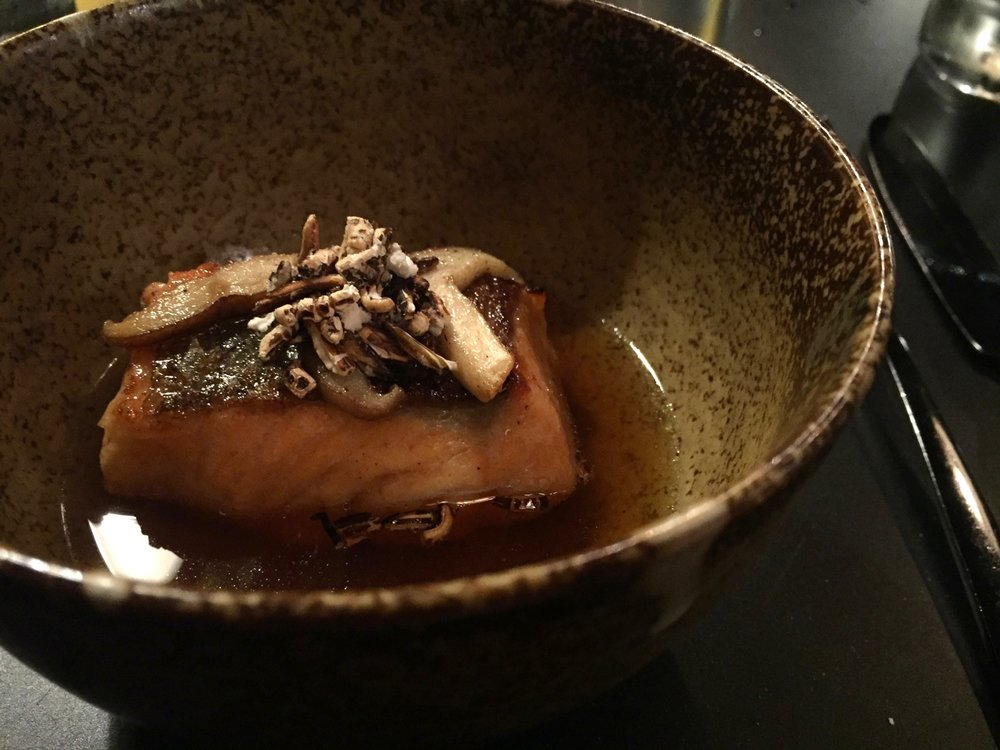 The Wilderness mushroom trout dashi