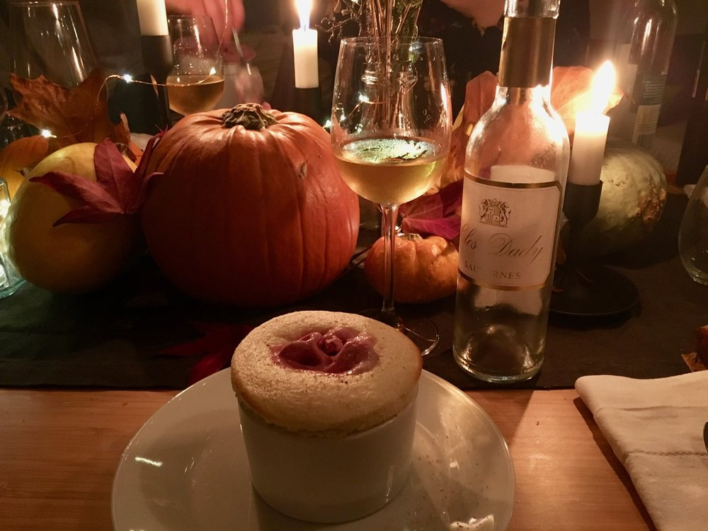 Bramley apple soufflé and blackcurrant ice cream with Clos Dady sauternes
