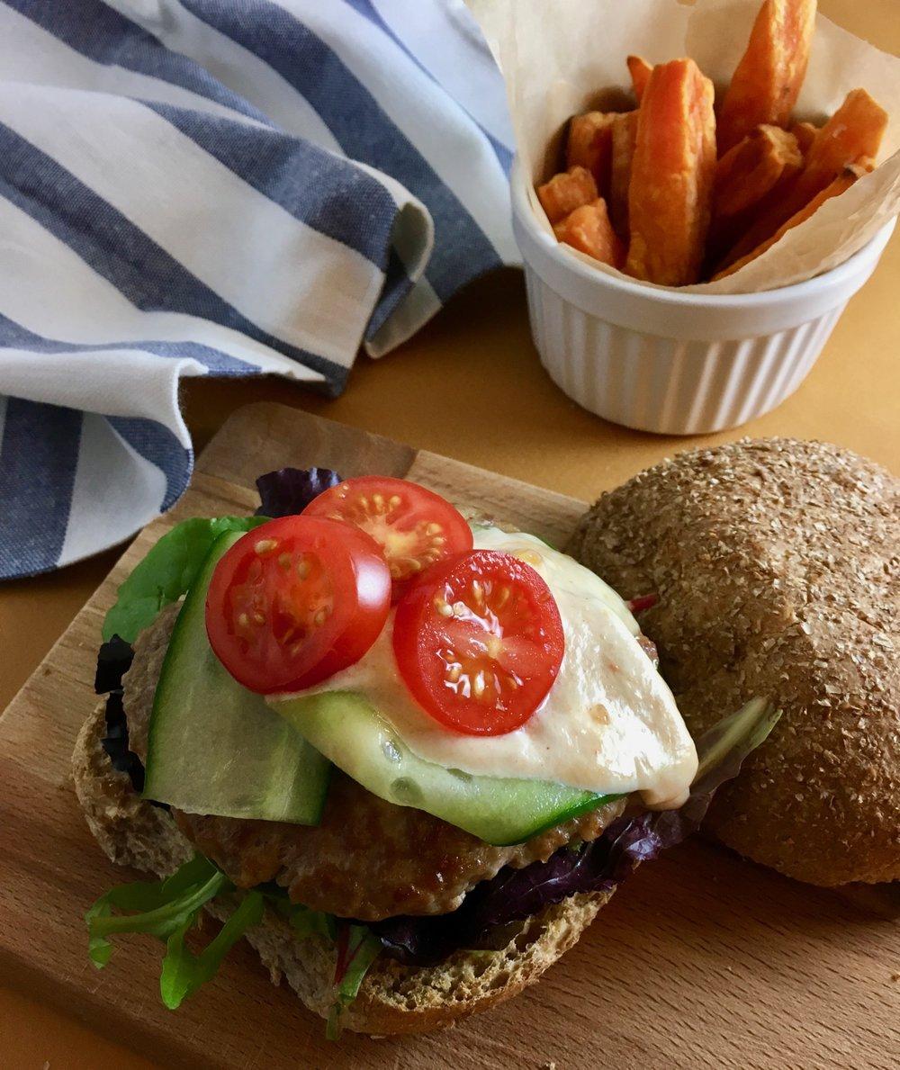 Groovy Food Turkey Burger with Mango Yoghurt and Sweet Potato Fries