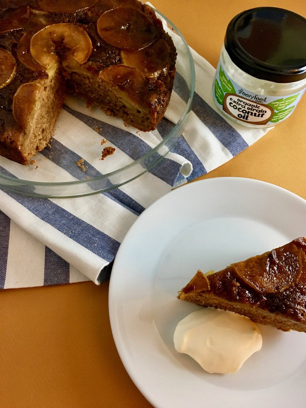Groovy Food Upside Down Sticky Apple Cake and Organic Extra Virgin Coconut Oil