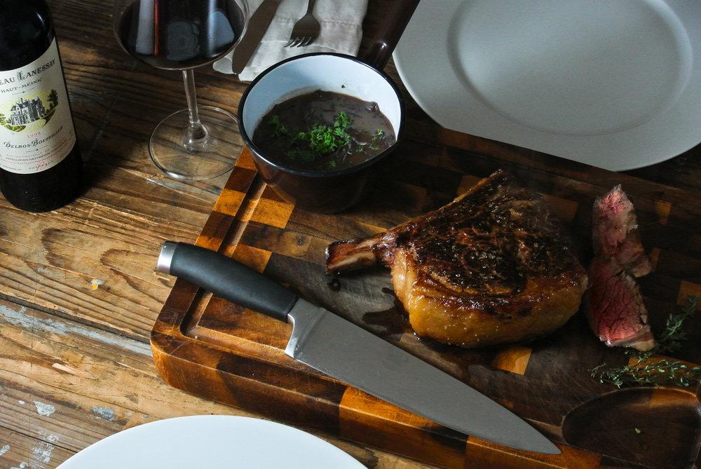 Aberdeen Angus beef rib steak with Bordelaise sauce