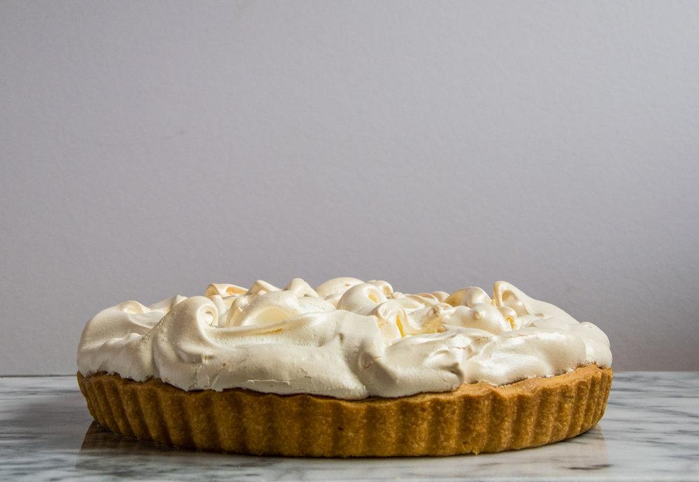 Lemon Meringue Pie on marble