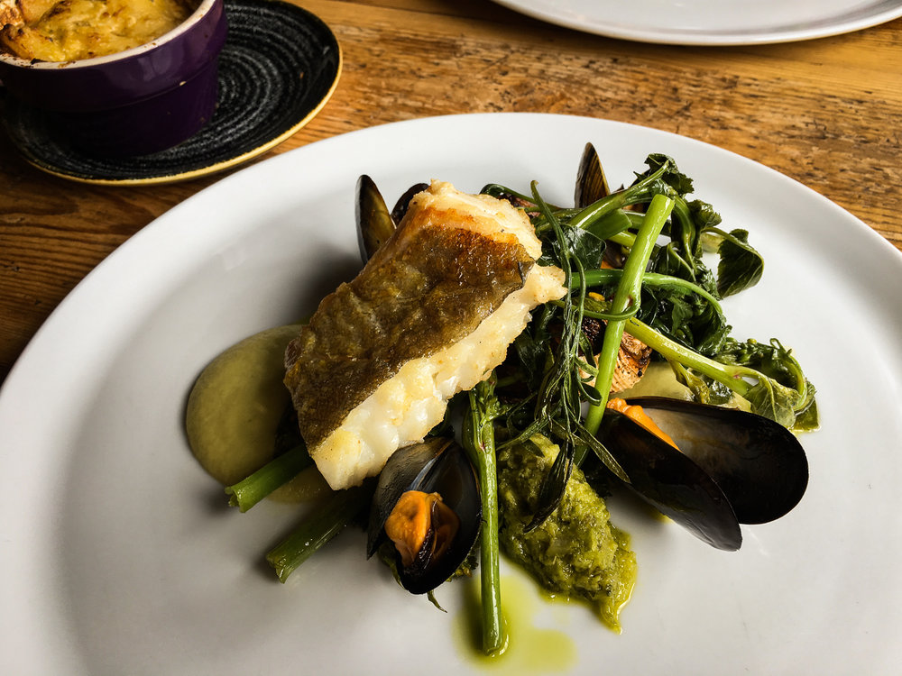 The Ethicurean Cornish Cod with Mussels and Fennel and Pine Puree