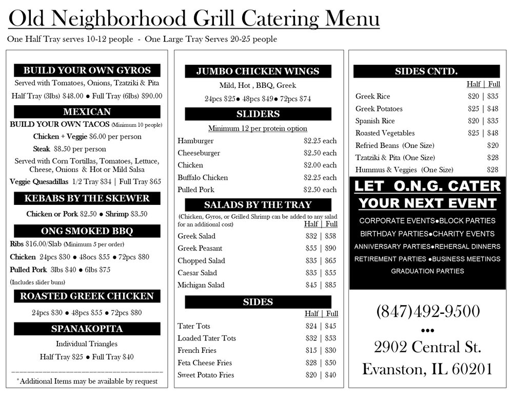 Old Neighborhood Grill Catering Menu