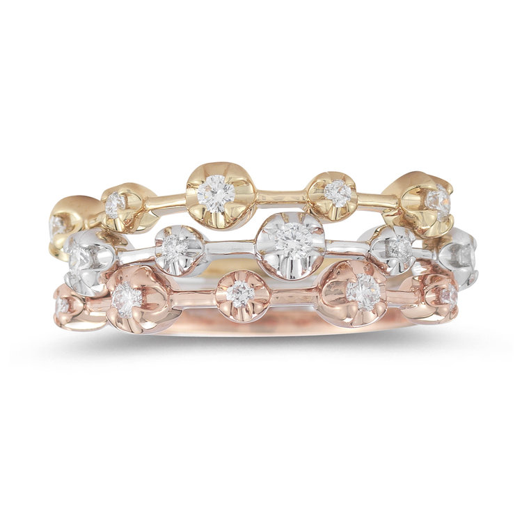 R12402  -  0.41 ct Set In A 14K White, Yellow & Rose Gold Ring.     List Price: $  2,180      Our Price: $1,744
