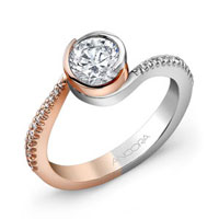 VVA425B  - 0.11 ct Set In 14K White & Rose Gold.  List Price: $1,295    Our Price: $1,036
