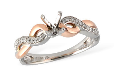 L7539  - 0.09 ct Set In 14K White & Rose Gold.  List Price: $1,212     Our Price: $969