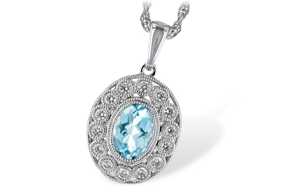 N7828  -  0.62 ct Aquamarine Set In A 14K White Gold Pendant.    List Price: $1,635      Our Price: $1,299