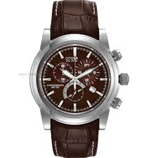 AT0550  - Eco-Drive Chronograph With Brown Strap.    List Price: $325      Our Price: $260