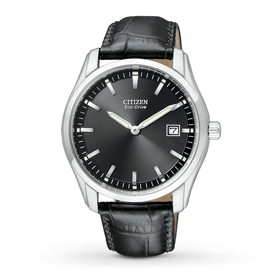AU1040  - Eco-Drive Stainless Steel With Faux-Leather Strap.    List Price: $175      Our Price: $140