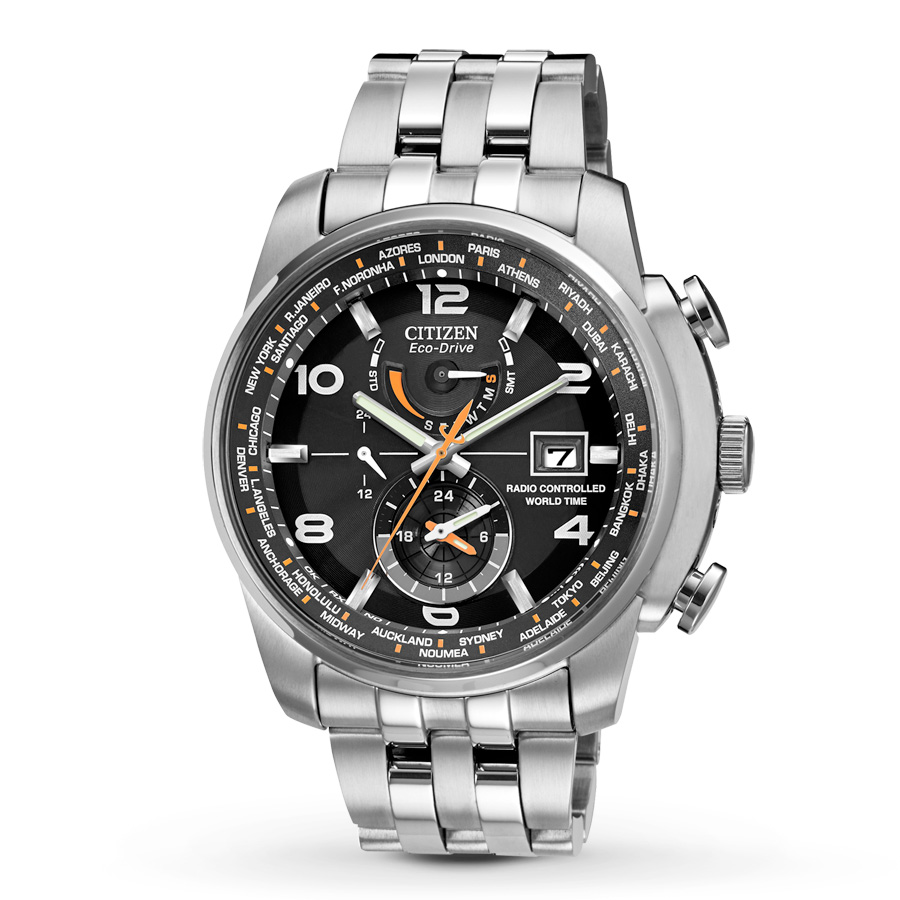 AT9010  - Eco-Drive World A-T With Perpetual Calendar & Stainless Steel Link Band.    List Price: $595      Our Price: $476