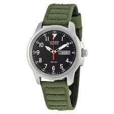 BM8180  - Eco-Drive Analog With Green Canvas Strap.    List Price: $165      Our Price: $132